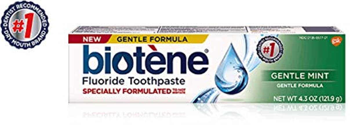 Biotène Bioteneジェントル式フッ化物の歯磨き粉、フレッシュミント4.3オズ(1パック)