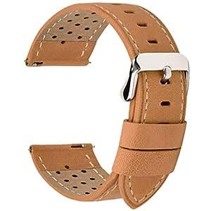 時計バンド ベルト 20mm 革、Fullmosa全5色スマートウォッチバンド ベルト 腕時計バンド 交換ベルト本革 レザー 20mm オレンジ ブラウン
