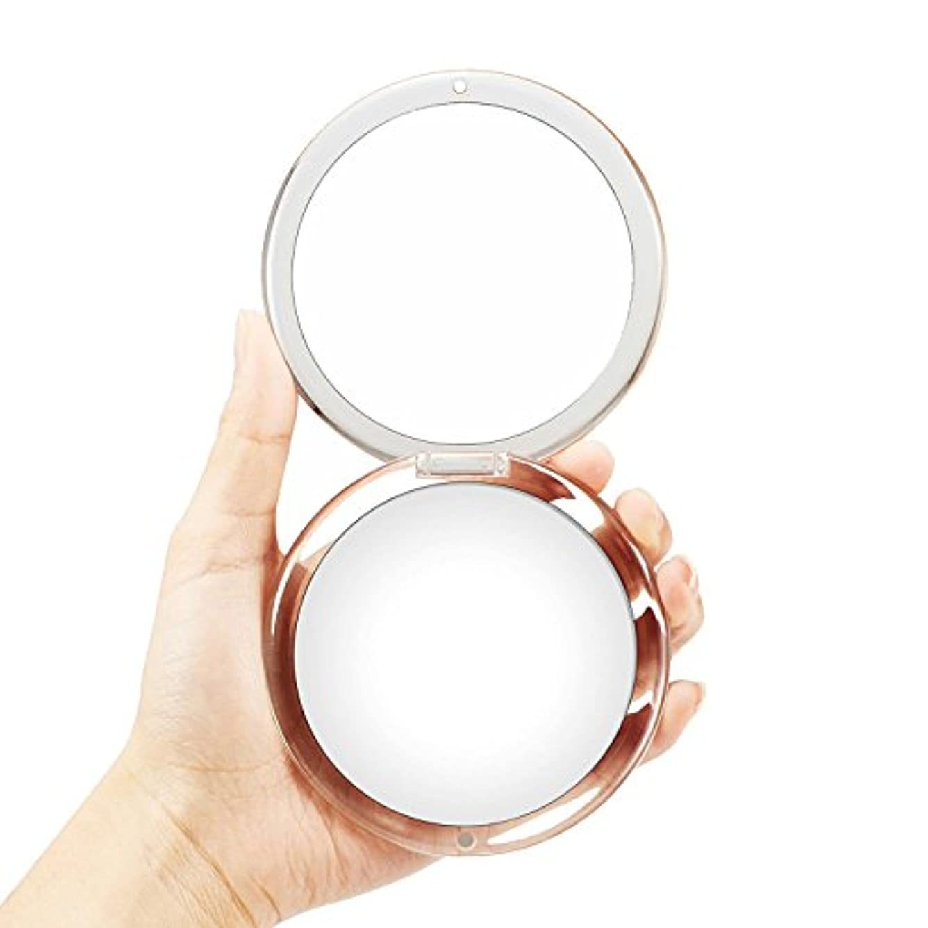 OMIRO折り畳み式ポータブルレンズ、5倍拡大鏡90mmポケットラウンドハンドヘルドメイクアップミラー(シルバー)