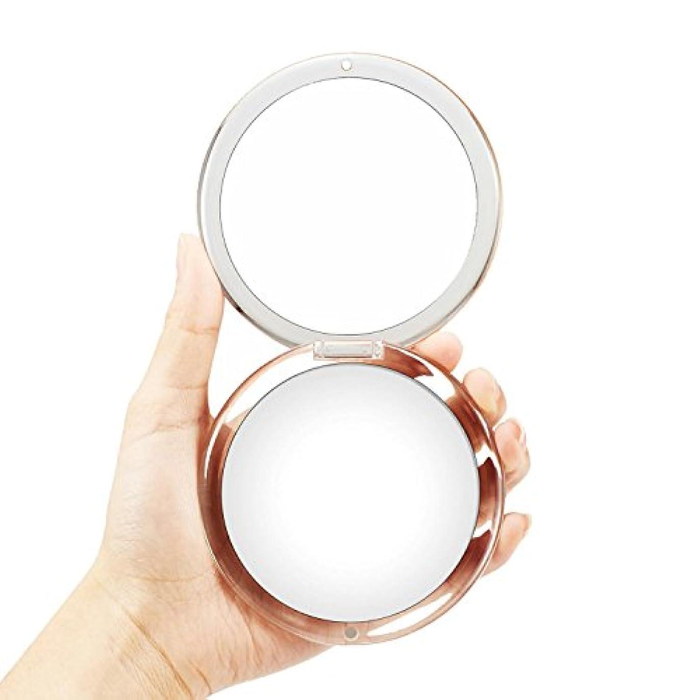 枯渇する形才能OMIRO折り畳み式ポータブルレンズ、5倍拡大鏡90mmポケットラウンドハンドヘルドメイクアップミラー(シルバー)