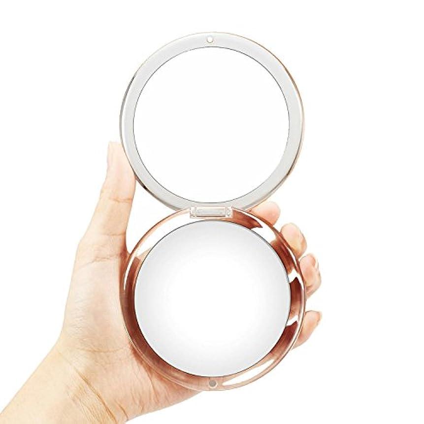 論理的に代替案不測の事態OMIRO折り畳み式ポータブルレンズ、5倍拡大鏡90mmポケットラウンドハンドヘルドメイクアップミラー(シルバー)