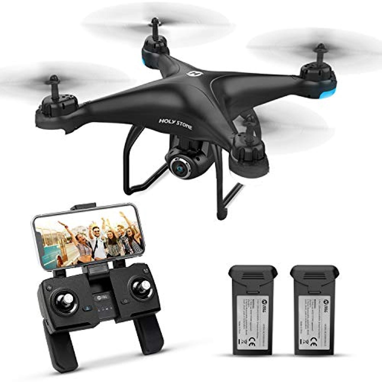 Holy Stone ドローン GPS搭載 カメラ付き 200g以下 最大飛行時間32分 バッテリー2個付き 1080P 広角HDカメラ フォローミーモード オートリターンモード モード1/2転換可能 FPVリアルタイム 高度維持 プロペラガードなし 国内認証済み HS120D