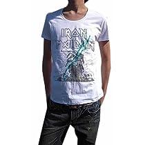 こいつは革命です BUY OR DIE ハードロック古着とは一線を画す 現代版スタイリッシュ メイデンUネックTシャツ IRON MAIDEN アイアン・メイデン PAINT MAIDEN (M, WHITE)
