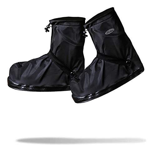 [Frelaxy] シューズカバー 防水 雨よけ 靴カバー 6サイズ(S -3XL) 5色 四つの防水設計 滑り止め 通勤通学 自転車用 耐久性 男女兼用 XXL (26-27cm), ブラック