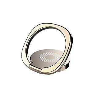 スマホリング バンカーリング シンプル 薄型 ホールドリング スタンド 360回転 落下防止 マグネット 車載ホルダー 対応 iPhone/Android各種スマホ対応 (ゴールド) ring-simple-gd
