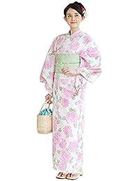 浴衣+造り帯+下駄の3点セット ピンク紫陽花柄