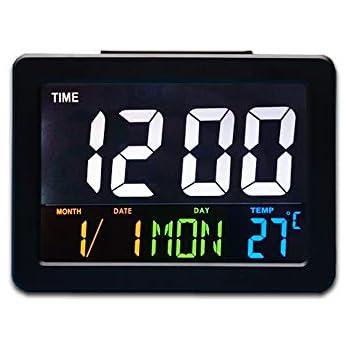 ファッション LED デジタルデスク時計 - 現代 ベッド サイド 大画面 LED 目覚まし時計 日付、気温付き (ブラック)
