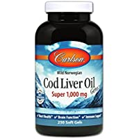 海外直送品 Carlson Super 1000mg Cod Liver Oil, 250 Softgels