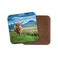 ふわふわハイランド牛コースター - 牛スコットランド自然動物ワイルドギフト#15513