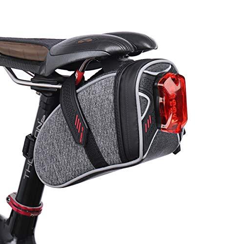 Tectri 自転車サドルバッグ + テールライト(1個)シートポストバッグ 反射テープ 自転車カバン ポーチ 通勤 サイクリング用 多機能 収納 取り付け簡単 防水