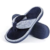 Wishcotton Memory Foam Thong Slippers, Adjustable Terry Flip Flop Slippers