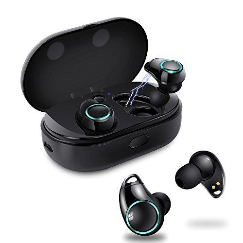完全ワイヤレス Bluetooth イヤホン 片耳 両耳とも対応 呼吸ランプ付き スポーツイヤホン 高音質 ワンボタン設計 軽量 Bluetooth 4.2 ワイヤレス ヘッドセット マイク内蔵 ハンズフリー通話 IPX5防汗防滴 iPhone Android 対応 Meilunz NB6 (ブラック)