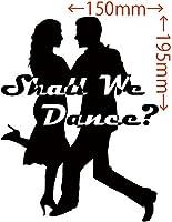 カッティングステッカー Shall We Danse? (ダンス)・3 約150mm×約195mm ブラック 黒