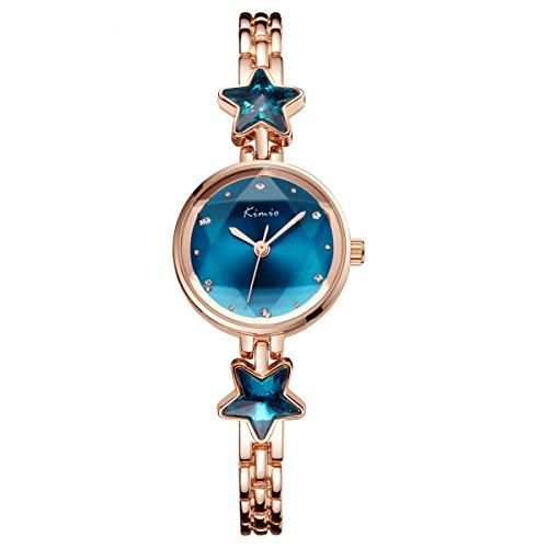PHCOOVERS オシャレ アナログ 腕時計 レディース 女子 かわいい 星 カジュアル ウォッチ (ブルー*ゴールド)