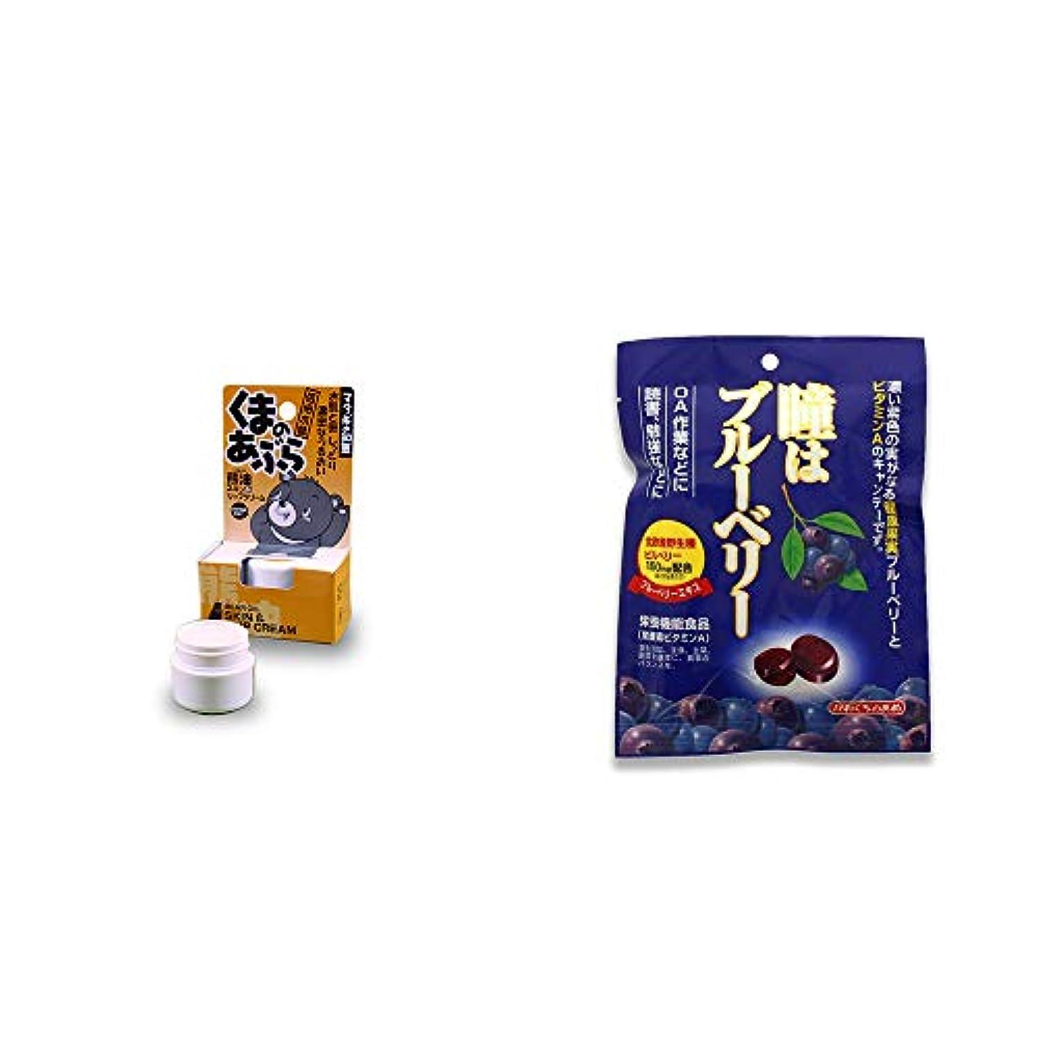 名詞感じ項目[2点セット] 信州木曽 くまのあぶら 熊油スキン&リップクリーム(9g)?瞳はブルーベリー 健康機能食品[ビタミンA](100g)