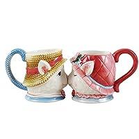 Colias Wing Adorableレッド&ブルーKiss猫デザインセラミックティーカップコーヒーマグ旅行マグ恋人マグ( Set of 2)
