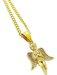 18 KゴールドメッキMini Praying Angel Pieceペンダントステンレススチールネックレス24 cmロープチェーン