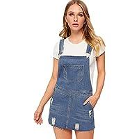 Milumia Women's Casual Denim Bib Overall Dress Adjustable Strap Dress