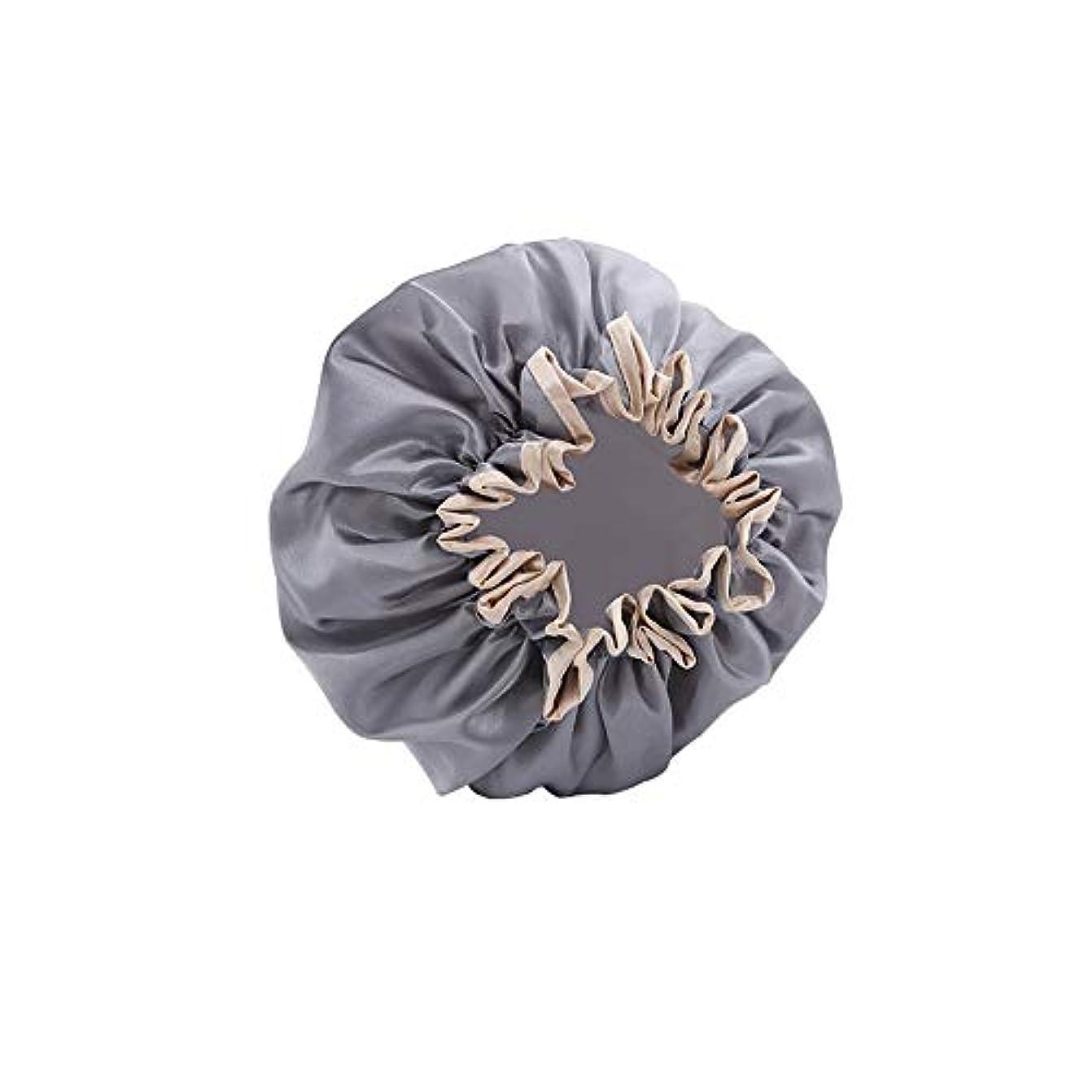 大いにコントローラトランジスタYushulinfeng ダブル防水シャワーキャップシャワーキャップ髪のセット大人女性シャワーキャップアンチ煙髪キャップ入浴髪のセットの快適なシャワーキャップシャンプーキャップ (Color : Gray)