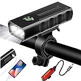 自転車ライト USB充電式 LEDヘッドライト 大容量5200mah USB充電式テールライト付き スマホ充電可能 自転車ヘッドライト 高輝度IPX5 防水 防振 アルミ合金製 懐中電灯兼用 ブラック 一年間安心保証