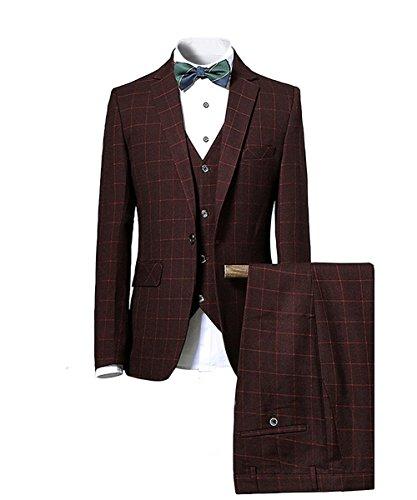 CEEN イギリス風メンズスーツ チェック柄スーツ スタイリッシュ 一つボタン スリピーススーツ 洗練 スリム 3ピース オシャレ フォーマル 就職 リクルート 紳士服(パープル,XL)
