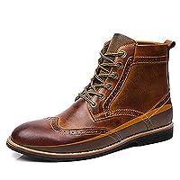 [JUIN] メンズ ハイカット ブーツ 27.0cm メンズ ファッション 茶色+シークレットソール シューズ かっこいい 男性 レースアップ マーチンブーツ 日常着用 デーリー 通勤 通学 ワークブーツ レザーブーツ 小さいサイズ 歩きやすい デザートブーツ