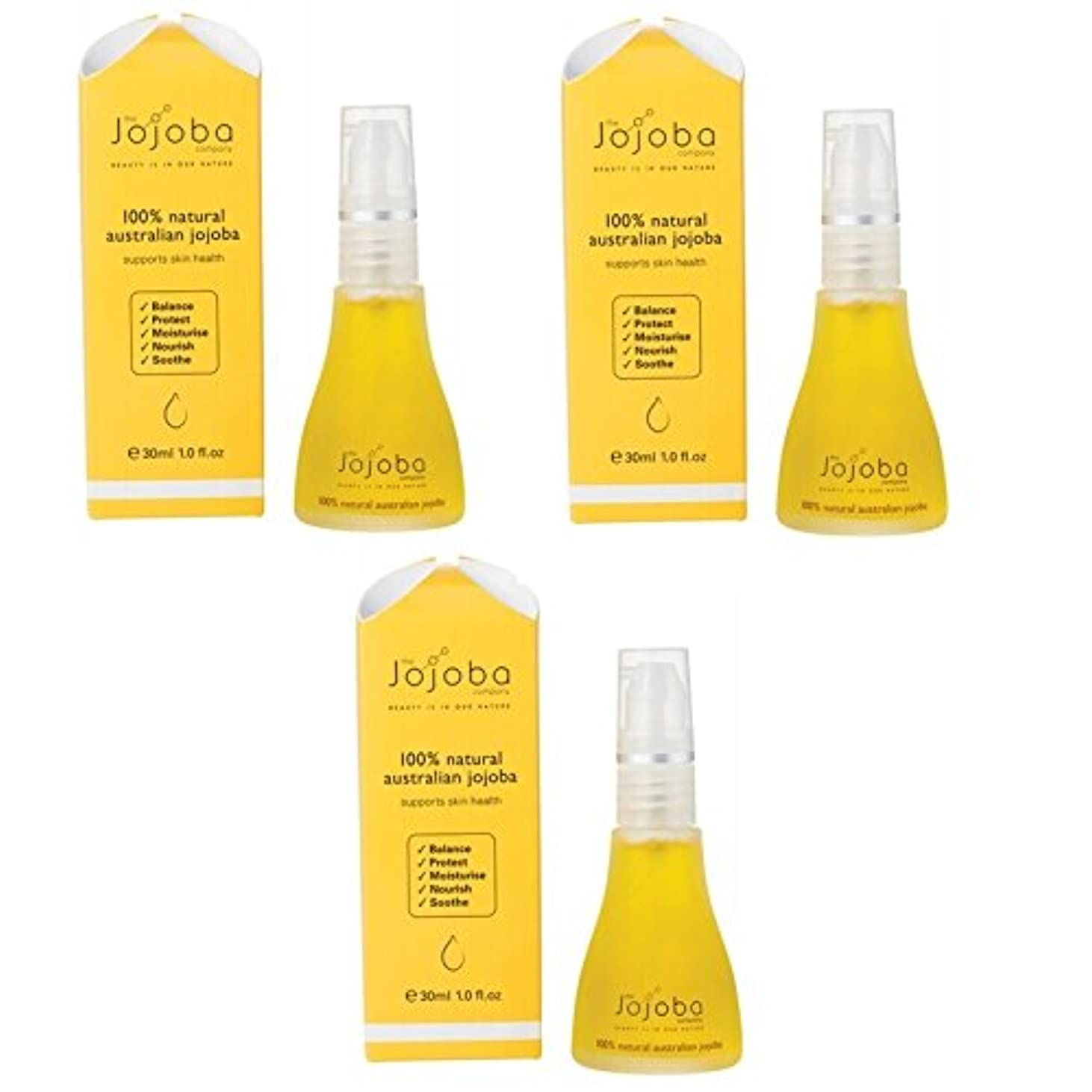優しさ闇パフthe Jojoba Company 100% Natural Australian Jojoba Oil 30ml 3本セット [海外直送品]
