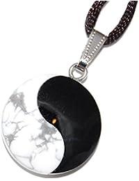 強力なハウライト&オニキスメノウ、ホワイトブラックCarved Gemstone 1」(37 mm)、幸運陰陽武術太極拳チャームペンダントを調節可能な20