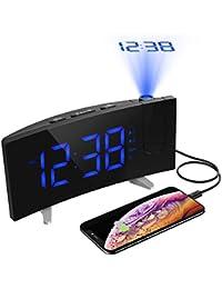 Holife 目覚まし時計 プロジェクター機能付き 壁 天井 投影 投影角度120°回転調整可能 置き時計 デジタルアラーム 卓上時計 大音量 大型LED スマホに充電可能 二世代 18ヶ月保証付き