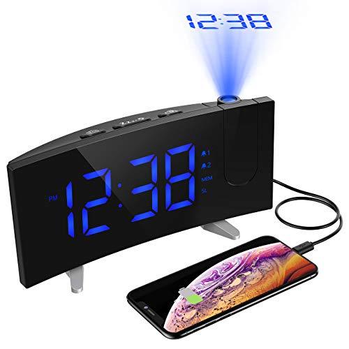 目覚まし時計 デジタル時計 投影時計 ラジオ時計 卓上時計 壁 天井 投影180°調整可能 FMラジオ搭載 ダブルアラーム付き スヌーズ機能 LED三階段の明るさ 大音量 携帯充電可能