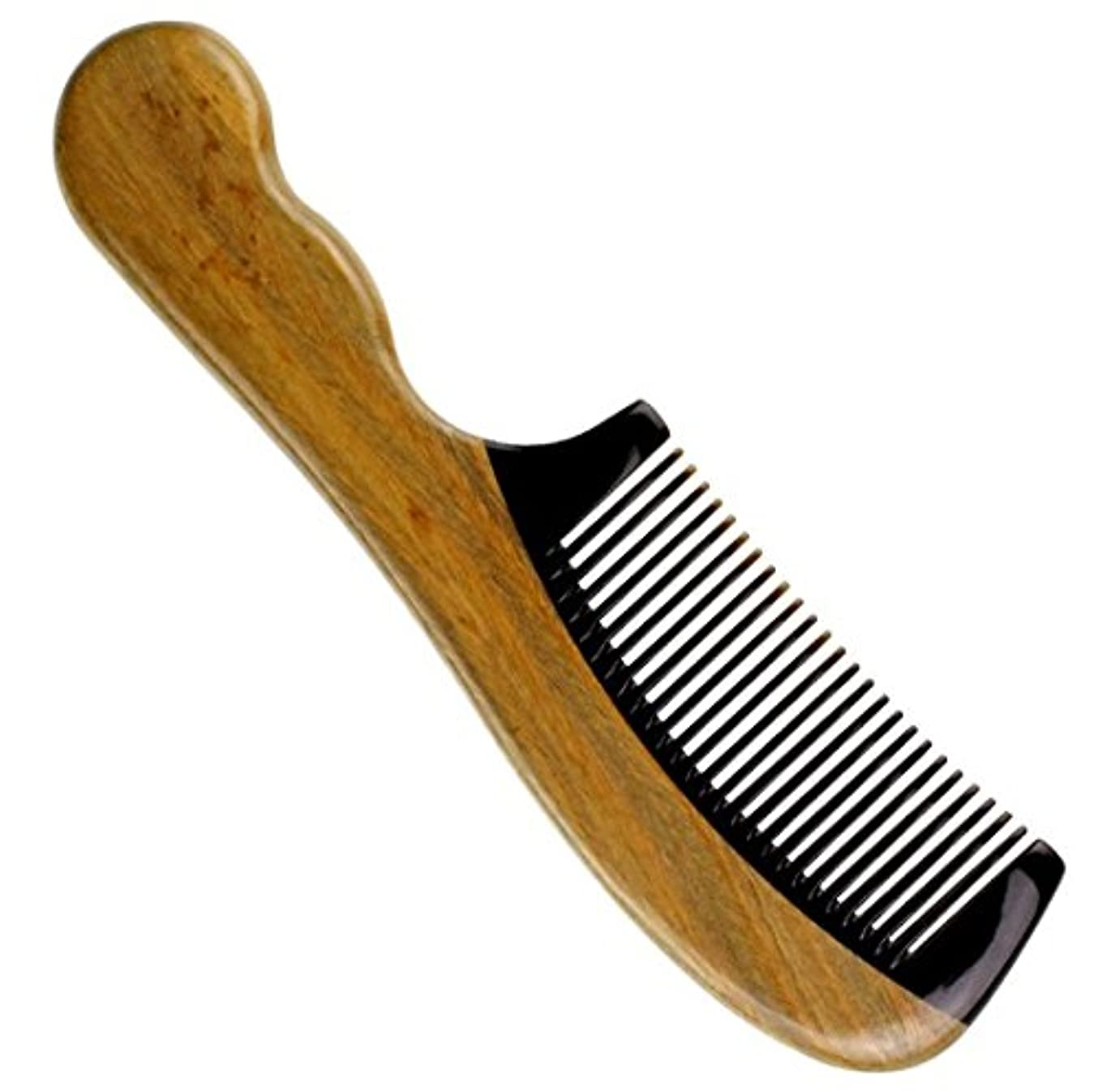 櫛型 緑檀木 プロも使う牛角かっさプレート マサージ用 血行改善 高級 天然 静電気 防止 美髪 敬老の日(牛の角と檀木)