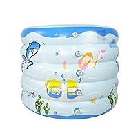 WENJUN インフレータブル折りたたみバスタブベビープール新生児プールベビーバスタブ子供用浴槽 (色 : 青, サイズ さいず : 100 * 80 cm)