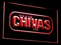 Chivas Regal LifeLED看板 ネオンサイン ライト 電飾 広告用標識 W40cm x H30cm レッド
