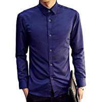 [ウェアハピ] ワイシャツ 長袖 トップス 襟付き シャツ メンズ スマート デザイン ビジネス 3色展開 ブルー ライトブルー ホワイト