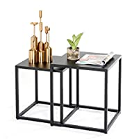 メタルネストテーブル 平方 スタッカブルコーヒーテーブル ソファエンド/サイドテーブル 居間用 バルコニー オフィス、 掃除が簡単、黒