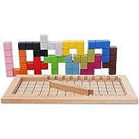 LanYo木製おもちゃのジグソーパズル 子供の赤ちゃんパズル 知育玩具 ビルディングブロックおもちゃテトリスパズルパズルボード