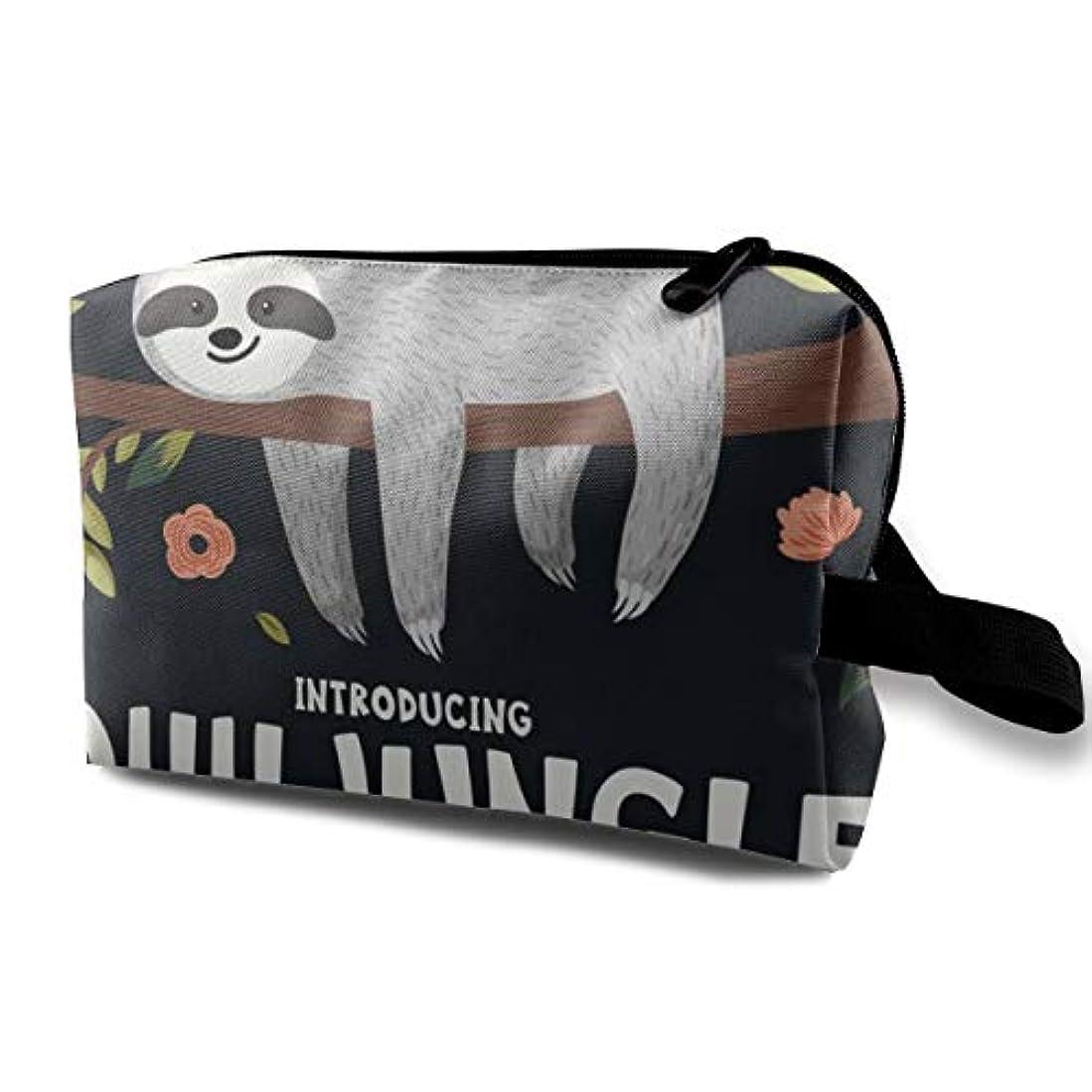 より平らな健康蒸Cute Baby Sloth On The Tree 収納ポーチ 化粧ポーチ 大容量 軽量 耐久性 ハンドル付持ち運び便利。入れ 自宅?出張?旅行?アウトドア撮影などに対応。メンズ レディース トラベルグッズ