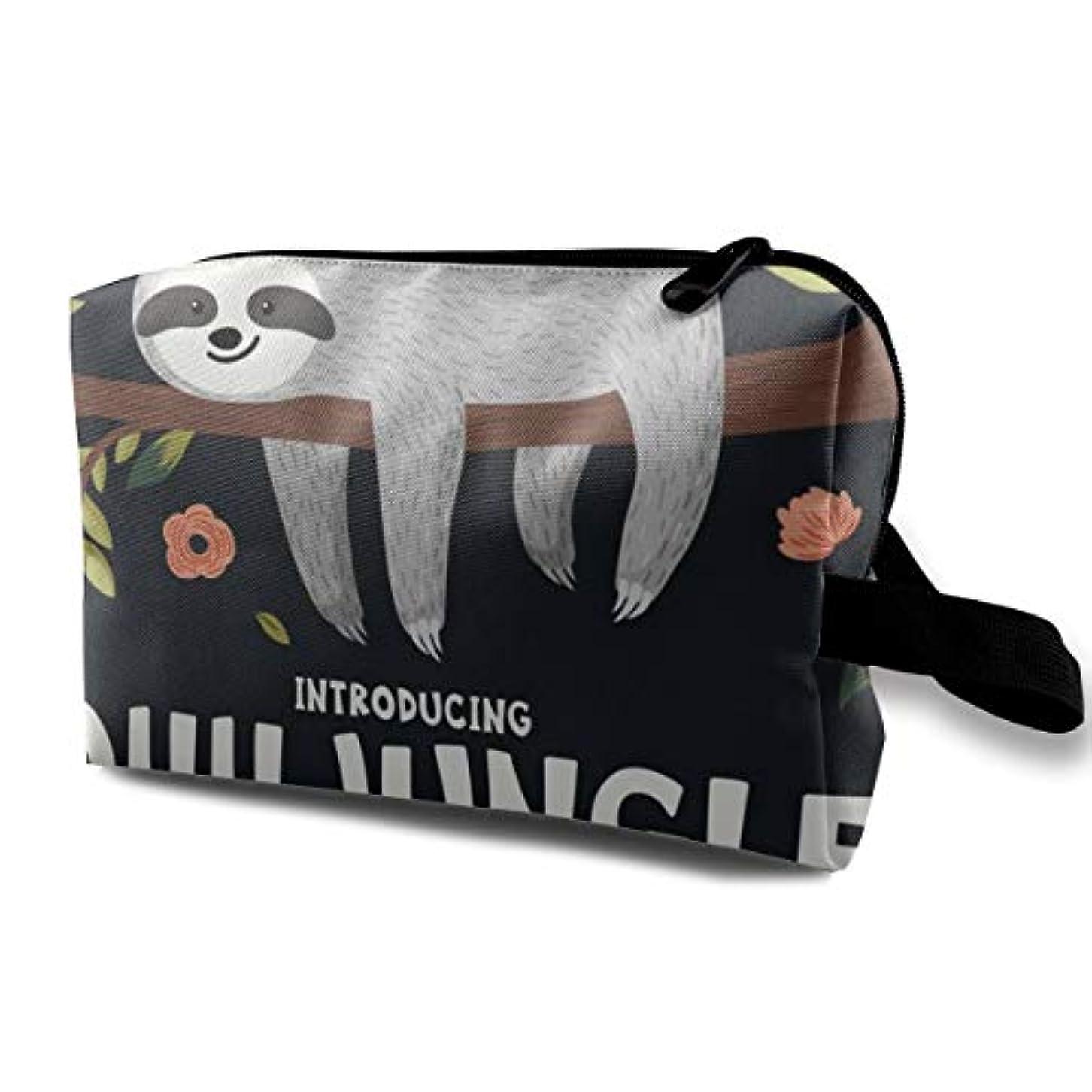 母性従事したホラーCute Baby Sloth On The Tree 収納ポーチ 化粧ポーチ 大容量 軽量 耐久性 ハンドル付持ち運び便利。入れ 自宅?出張?旅行?アウトドア撮影などに対応。メンズ レディース トラベルグッズ