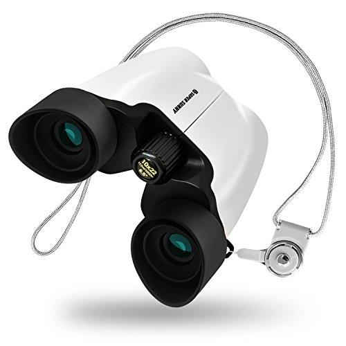 SuperSunny 双眼鏡 10倍 ブレない コンサート用 ネックストラップ アイカップ付(ホワイト)