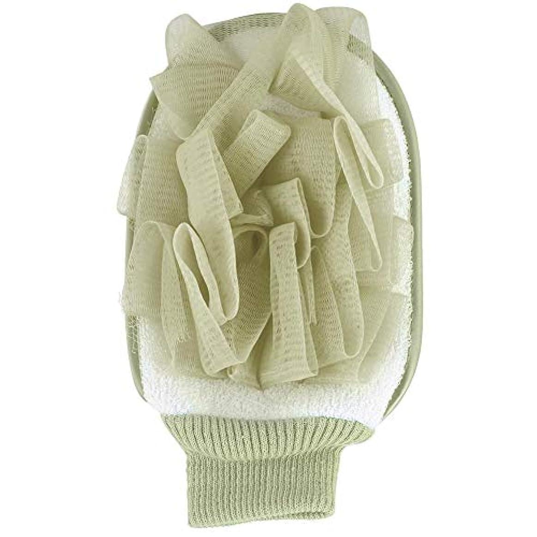 スキャンしかし宙返りCusco 浴用手袋 お風呂手袋 シャワーグローブ ボディタオル 泡立ち 入浴用品 角質除去 垢すり 柔らかい 2色(緑)