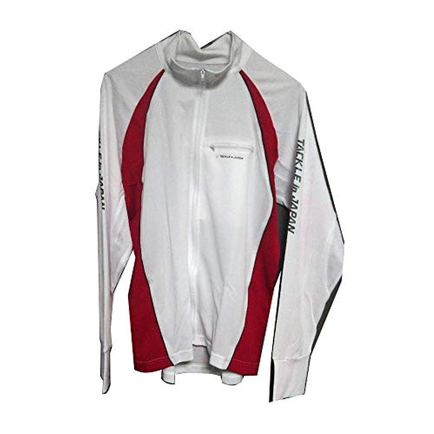 ご飯健康的器具TACKLE in JAPAN(タックルインジャパン) フルジップシャツ ロゴ ホワイト No.193142 LL