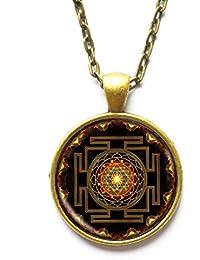 Sri Yantraペンダント、Sacred Geometryジュエリー、Sri Yantraジュエリー、メンズのジュエリー、ネックレスメンズ、Sri Yantraネックレス、仏教、