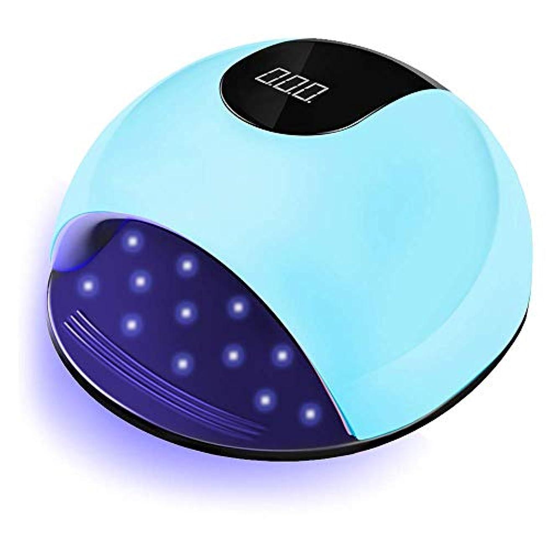 UVネイルランプ、ジェルネイル用80W LED UVライト、36個のUVランプビーズと赤外線自動センサーを備えた高速ネイルドライヤー、ジェルネイルポリッシュに適した、爪と爪のポリッシュアート用の大きなスペース(青)