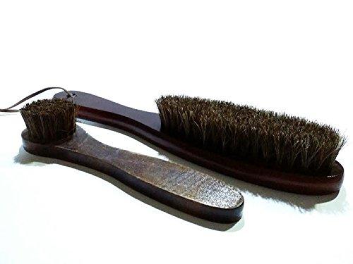 高級 馬毛 ブラシ 大小2点セット 靴 洋服 バッグ 革 ほこり 花粉 汚れ 除去に