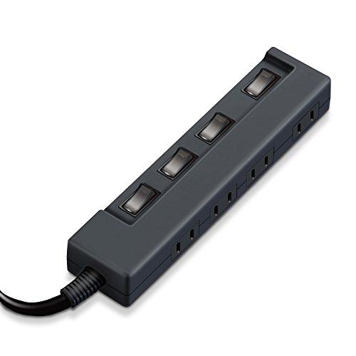 エレコム 電源タップ 省エネ 個別スイッチ付 ColorStyle 4個口 2m ブラック T-C02-2420BK
