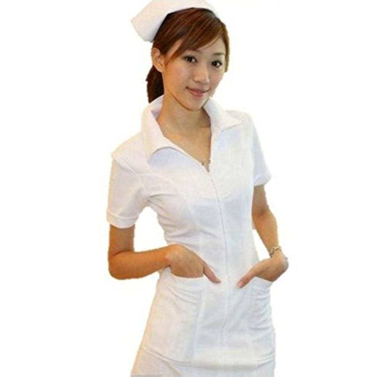 【本格的 4点セット】純白 ナース服 コスプレ(ナース服?ナースキャップ?白網タイツ?聴診器)