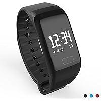 スマートウォッチ WearPai スマートブレスレット 活動量計 心拍計 歩数計 血圧測定 Bluetooth4.0 iPhone&androidスマホ対応 電話着信/ Line通知 アクティビティアラート 健康サポート機器 アクティブトラッカー