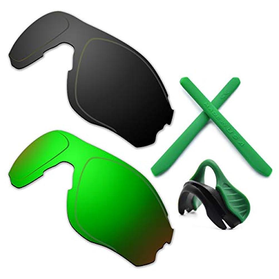 スモッグめまい適切なHKUCO 強化 にとって Oakley EVZero OO9308 ブラック/グリーン 偏光 交換レンズ グリーン ラバーキット と鼻パッド