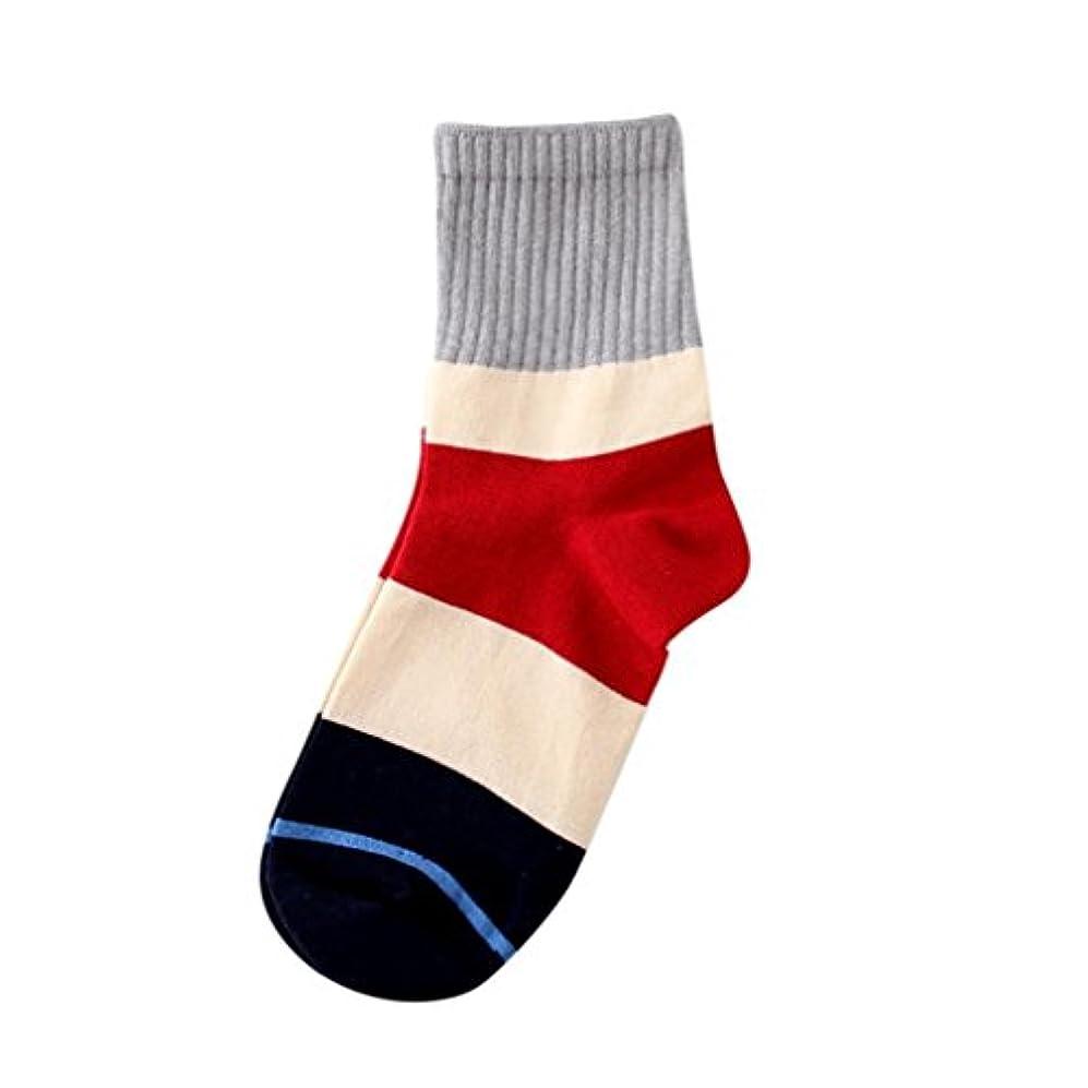 正午ハンサム選ぶMhomzawa 靴下 綿 ソックス レディース カラーブロック 吸水速乾 春夏 抗菌 オシャレ靴下 脱げにくい シンプル スクールソックス