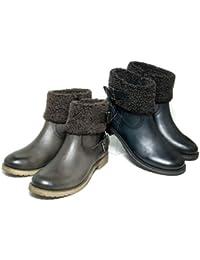 [シエスタ] 暖かボア ショートブーツ〔183-4620-m〕〔大きいサイズ 25cm〕〔ヒール3cm〕【本革】